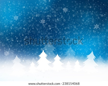 Christmas Background and Snowflakes Blurred