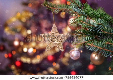 Christmas background - baubles and christmas tree. Holiday background