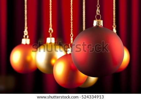 Christmas background - baubles on red background