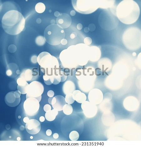 Christmas Background. Blue  Holiday Abstract Glitter Defocused Background With Blinking Stars. Blurred Bokeh - stock photo
