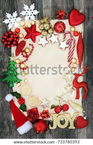 christmas background border with joy sign bauble decorations mince pies holly mistletoe