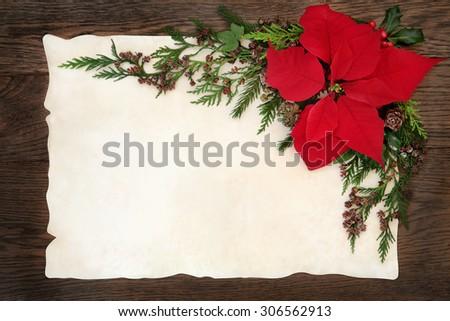 Christmas border frame poinsettia stock photos royalty for Poinsettia christmas tree frame
