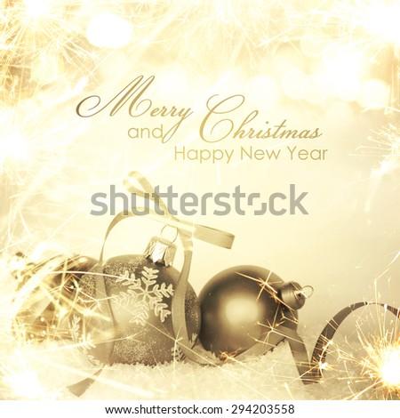 Christmas background border with sparkle - stock photo