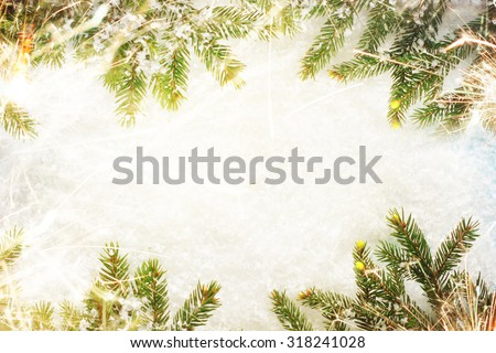 Christmas background border with sparkle - stock photo
