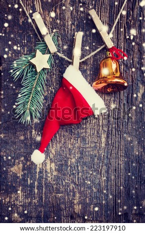 christmas background/ Christmas card with christmas  decorations in vintage style - stock photo