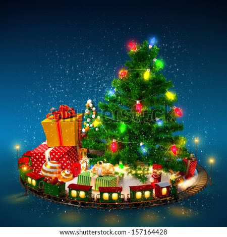 Christmas background. Christmas tree, gifts and railroad on blue - stock photo