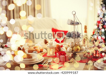 Christmas background decorated with colorful lights, close-up