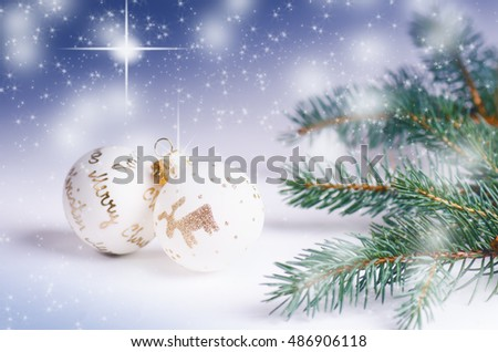 Christmas background, decoration and spruce branches. Christmas balls  isolated Soft focus. Sparkles and bubbles. Abstract background. Modern.