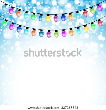 Christmas Background end Colored Garland. Illustration