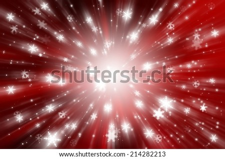 Christmas background. falling snow on the red background.  explosion star
