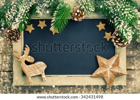 Christmas background for text in vintage style, horizontal - stock photo