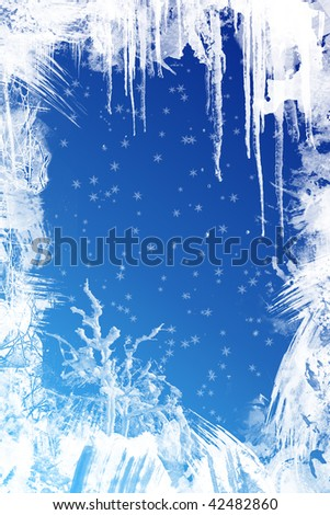 christmas background, frozen window - stock photo