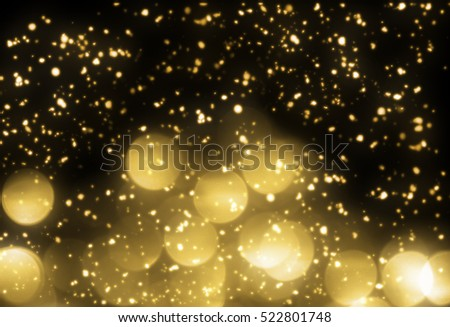 Christmas background gold lights on black