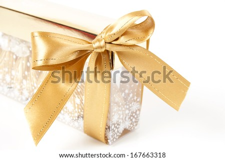 Christmas background. Gold ribbon