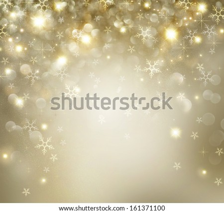 Christmas Background. Golden Holiday Abstract Glitter Defocused Background With Blinking Stars and Snowflakes. Blurred Bokeh  - stock photo