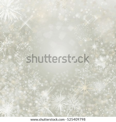 Christmas Background. Holiday Abstract  Background With Blinking Stars and Fireworks and Snowflake