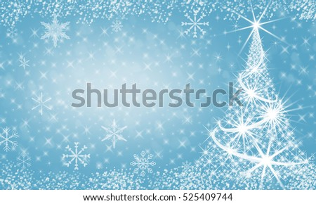 Christmas Background. Holiday Abstract  Background With New Year Tree, Blinking Stars and Fireworks and Snowflake