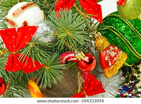 Christmas background, lollipops, pine twig, sweets, jellies.