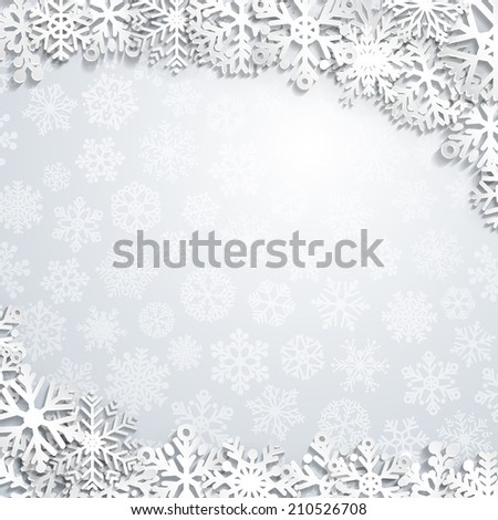 Christmas background of paper snowflakes with shadows - stock photo