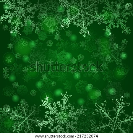 Christmas background of snowflakes, in green colors - stock photo