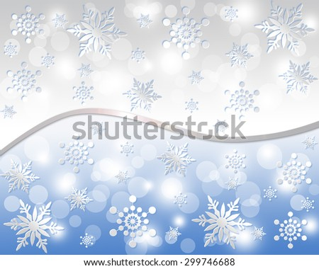 Christmas background of snowflakes, in grey and blue colors. - stock photo
