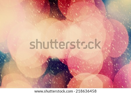 Christmas background of true camera bokeh. Snow blizzard texture. Glitter and light abstract. - stock photo