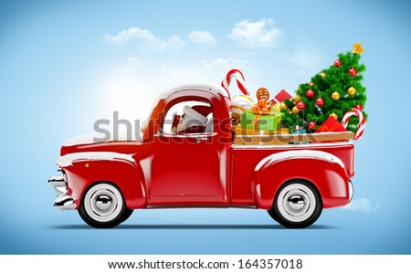 Christmas background. Pickup with christmas tree and gifts. Merry Christmas and Happy New Year - stock photo