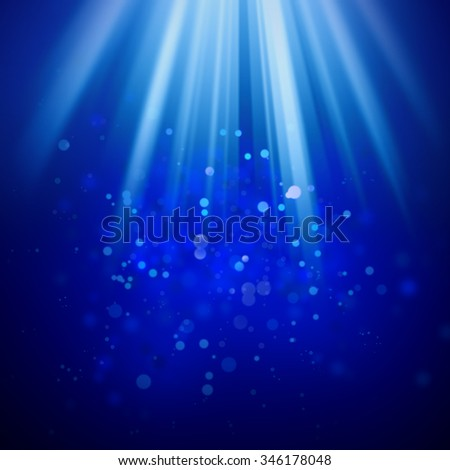 Christmas background - rays, lights and space for text - stock photo