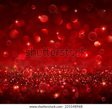 christmas background - shining red glitter - stock photo