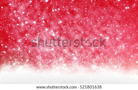 Christmas background, snow and red
