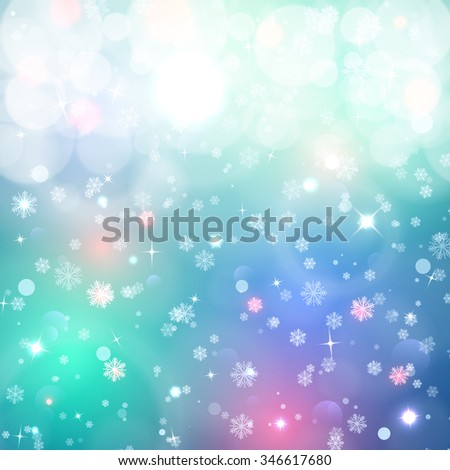 Christmas background. Snow, blured background. A background for design. A background with snowflakes and the shining stars. Lighting effects. Winter, magic background - stock photo