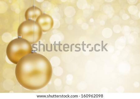 Christmas background - sparking golden lights and christmas balls