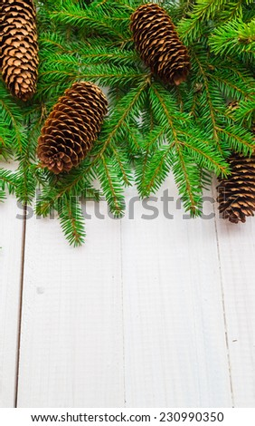 Christmas background: spruce twigs and cones on white board