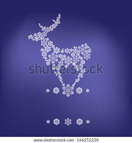 Christmas background standing reindeer silhouette in snowflakes - stock photo