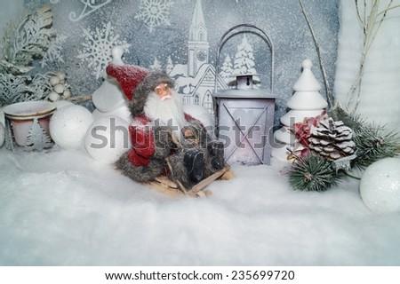 Christmas background - White Christmas - Claus sleigh - stock photo