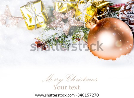 Christmas background with a ornament on snow, Holiday decoration