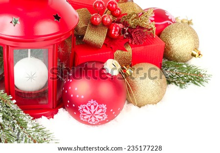 Christmas background with a red lamp and Christmas balls.