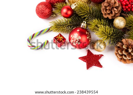 Christmas background with a red ornament. studio shot - stock photo