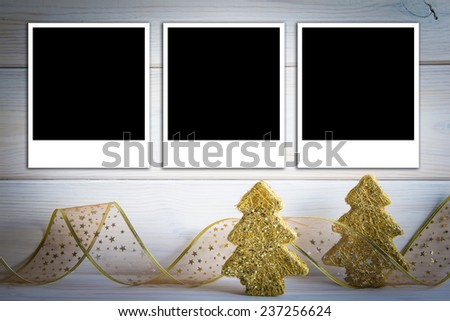 Christmas background with a space for text or photo and bright decoration - stock photo