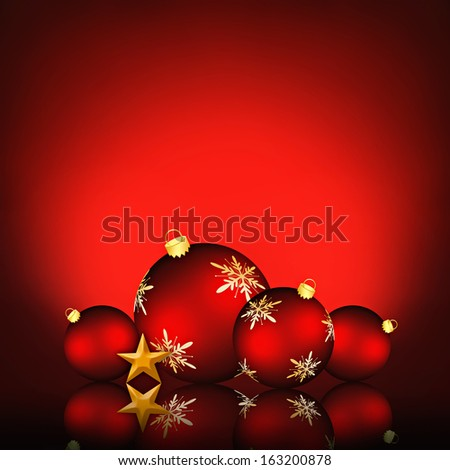 Christmas background with an illustration of red snowflake baubles  - stock photo