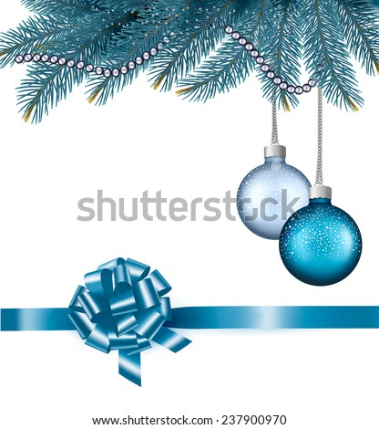 Christmas background with balls and branches.