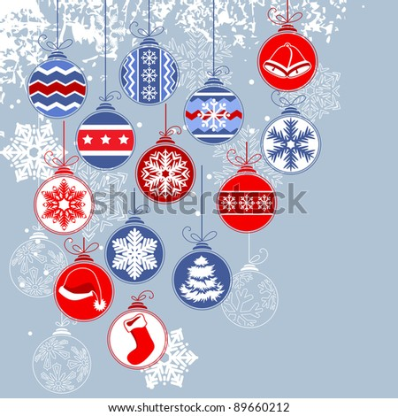 Christmas background with balls and contour snowflakes. Raster version.