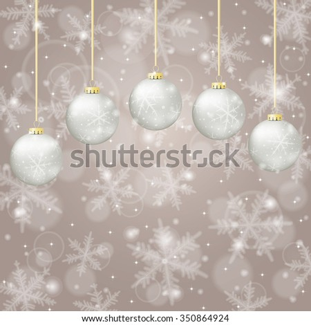 Christmas background with balls and snowflakes on light background. Raster version. - stock photo