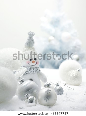 Christmas background with balls and snowman - stock photo