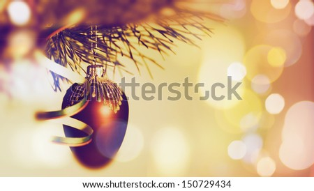 Christmas background with baubles and beauty bokeh - stock photo