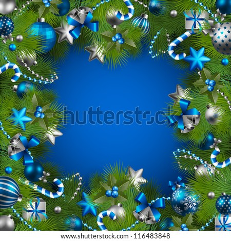 Christmas background with baubles and christmas tree. Check my portfolio for vector version. - stock photo