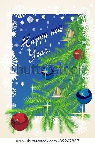 Christmas background with baubles and christmas tree. New Year. - stock photo