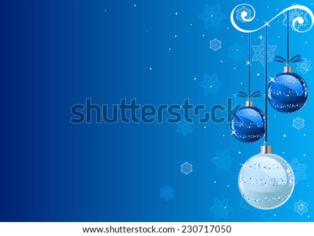 Christmas Background with baubles and snowflakes - stock photo