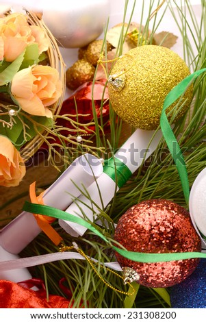 Christmas background with baubles, new year decoration - stock photo