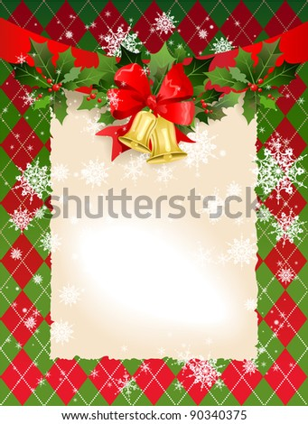 Christmas  background with bells and holly with space for text. Raster version